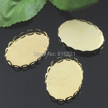 Blank Oval Lace Bezel Settings Cabochon Base Findings for Floating Charms Lockets DIY Making Golden Plated 18x25mm 20x30mm(China)