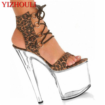 8 inch Sexy leopard print high heels With Platform Crystal shoes 20cm lady Exotic Dancer shoes peep toe sexy shoes