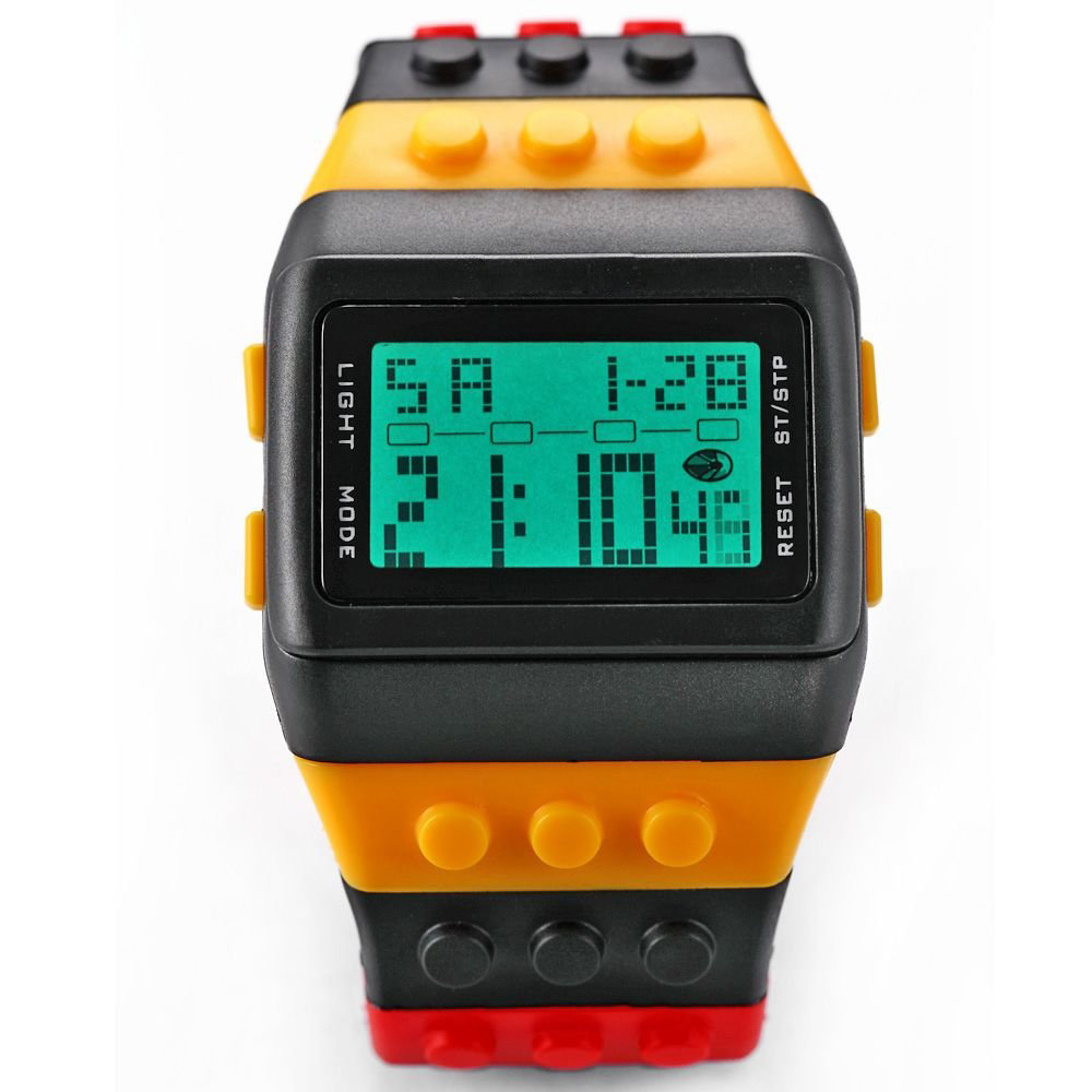 YCYC!5*Rainbow Rubber LCD Digital Alarm Black Case Sport Watch