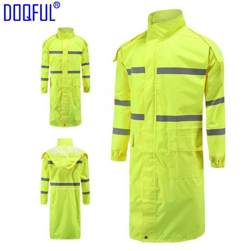 2PCS/lot Reflective Long Adult Rain Coat Outdoor Training Work Uniform Raincoat Hiking Riding Night Walk Safety Clothing