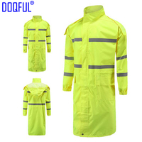 2PCS/lot Reflective Long Adult Rain Coat Outdoor Training Work Uniform Raincoat Hiking Riding Night Walk Safety Clothing