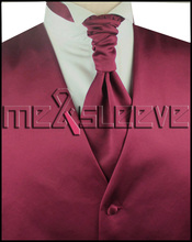 hot sale free shipping plain luxury burgundy  wedding dresses for sale(vest+ascot tie+cufflinks+handkerchief)