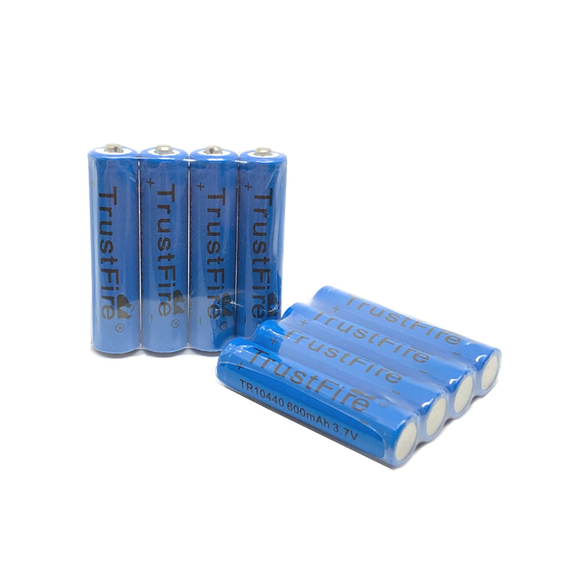 50pcs/lot TrustFire 3.7V TR10440 600mAh 10440 Lithium Battery Rechargeable Batteries for LED Flashlights Headlamps image
