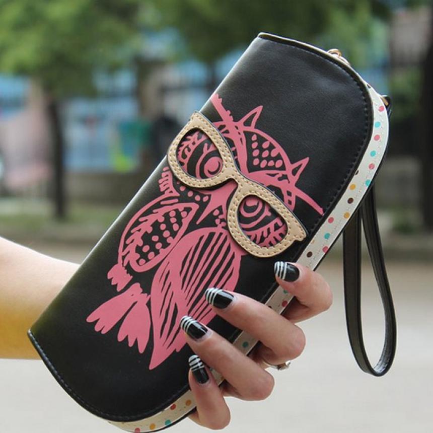 2016 Korean Fashion women long wallet Women Lovely Zipper Glasses Owl Pattern PU Leather Purse women wallet case promotion Hot
