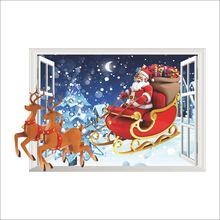 Santa Claus Reindeer Christmas Window Wall Sticker Wall Decal Christmas Decoration Xmas Window Decoring Remoavbel Decor Art