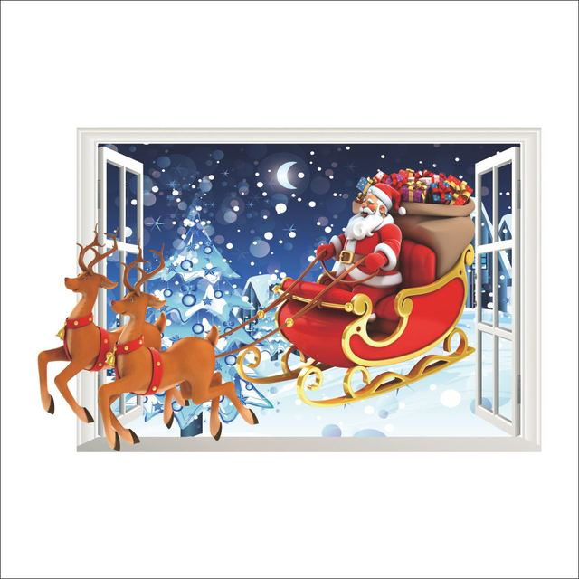 Santa Claus Reindeer Christmas Window Wall Sticker Wall Decal Christmas Decoration Xmas Window Decoring Remoavbel Decor Art