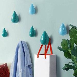 Image 5 - 1 個木製の壁ハンガー水滴形のフックドアバックハンガーキーホルダー装飾フックバッグハンドバッグ帽子服木製フック
