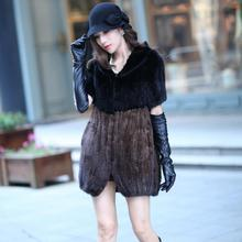 Genuine mink fur vest women Knitted mink fur vest waistcoat middle long style with collar Lady winter jacket EMS free shipping