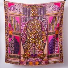 Persian 100% Twill Silk Scarf Women Printing Handmade Hemming Square Bandana 90*90cm Scarf цена