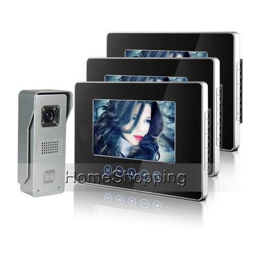 Brand New Wired 7 inch Touchkey Color Video Door Phone Intercom System 3 Monitors 1 Doorbell