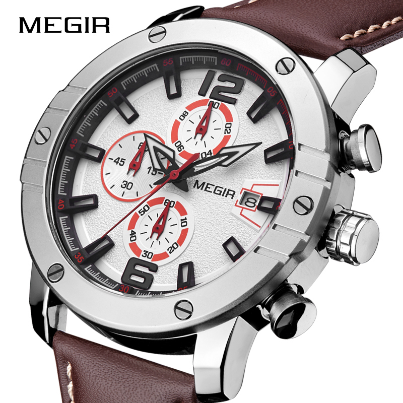 MEGIR Men Sports Watches Waterproof Big Dial Watch Men's Fashion Brand Military Quartz Wristwatches Male Clock Relogio Masculino big blue white dial men s sports quartz watches men watch pu leather wristwatches for lover gift relogio masculino ll