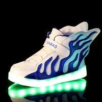 Bambini Scarpe Ragazzi Ragazze Scarpe Lampada Ricaricabile Ricarica USB LED Luminoso Doppia Ala Fiamma Luce Scarpe Bambini Sneaker 308