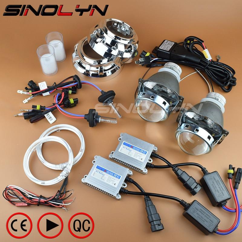 SINOLYN стайлинга автомобилей Premium 3,0-дюймовый би ксеноновые объектив проектора фар комплект светодиодный Ангельские глазки 4300 K 6000 K H1 H4 H7 9005 H11 ...