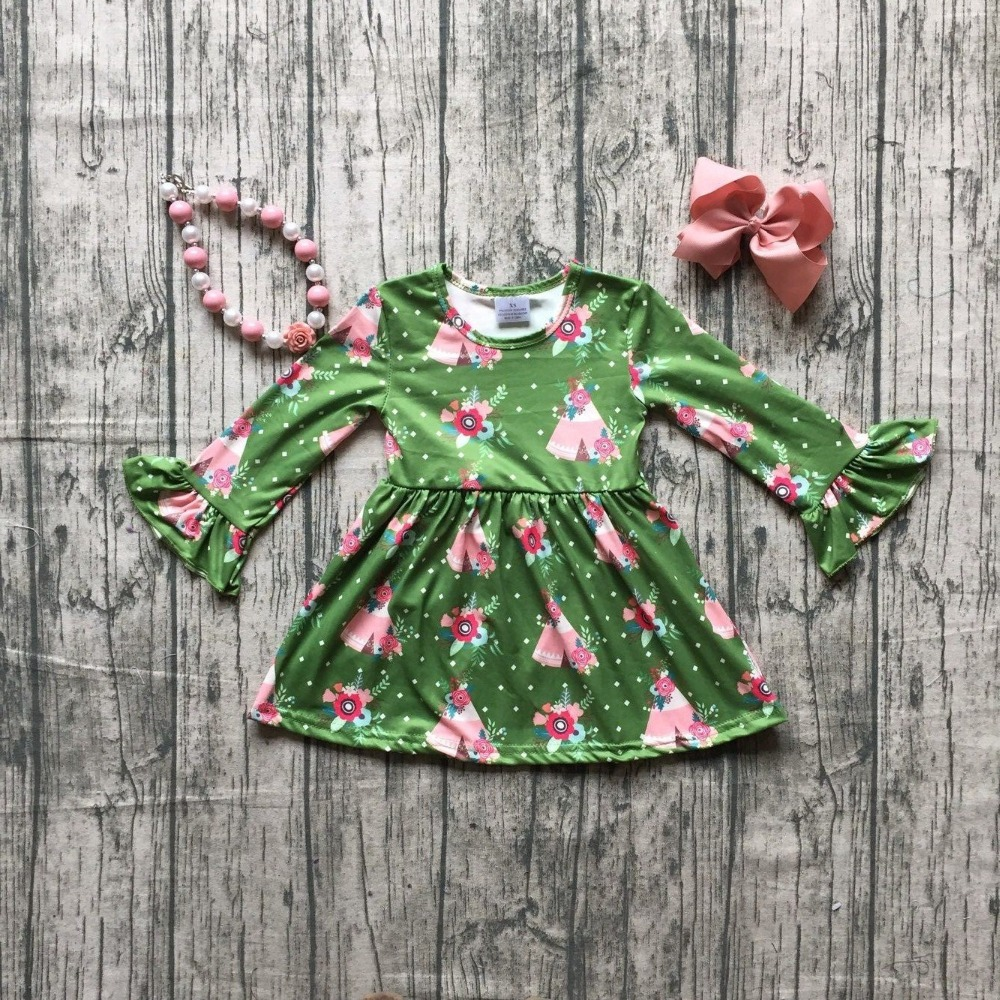 746105b048a8 new spring baby girls milk silk cotton dress green floral camper ruffle long  sleeve children clothes boutique match accessories