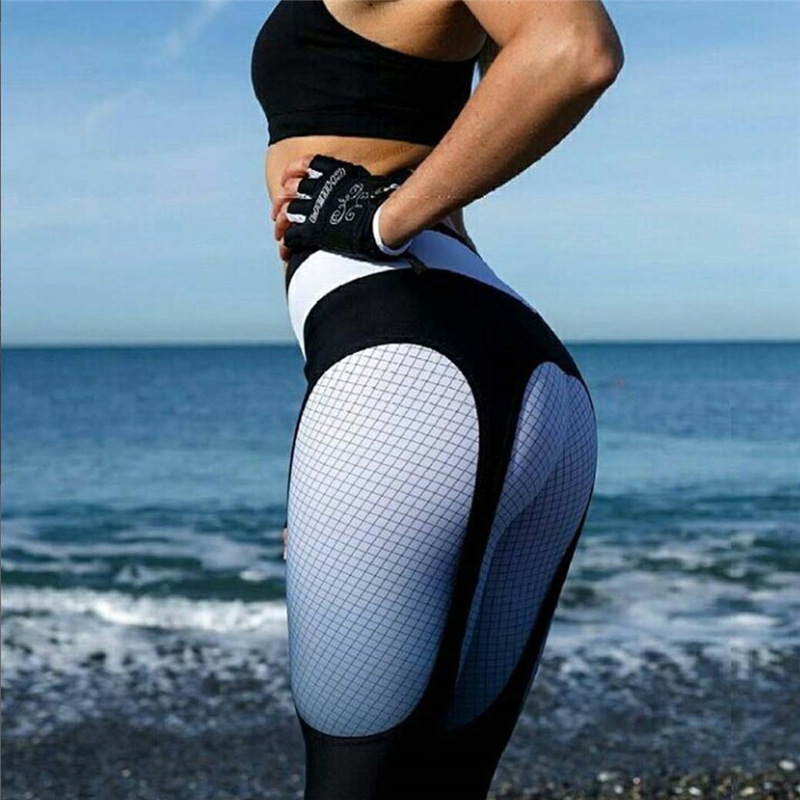 Auyiufar Plaid Women Pants Women Sporty Jeggings Fitness Tights 2018 Winter Black White Patchwork High Waist Pants Activewear tights