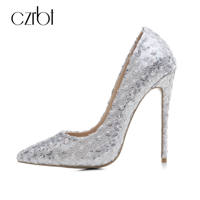 CZRBT Sexy Bling Wedding Shoes For Women Pumps Top Quality Handmade High Heels 12cm Fashion Pointed Toe and Steel Heel Big Size czrbt women pumps fashion high heels sexy metal rhinestone flower shoes pointed toe high heel bridal wedding shoes plus size 43