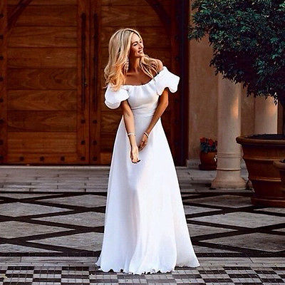 Goddess Women Ladies Maxi Boho Sweet Summer Slash Neck White Color Beach Long Evening Party Dress