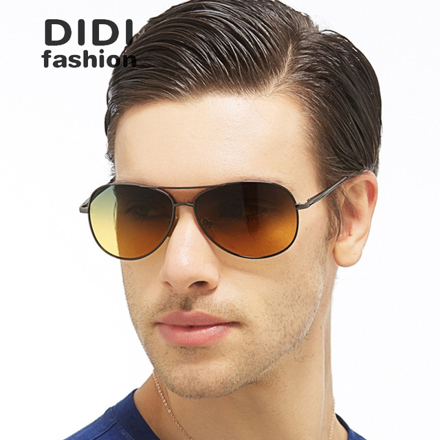 DIDI Polarized Day And Night Sunglasses Men Pilot Driving Sun Glasses Yellow Lens Military Goggles Tactical Lentes Home H609