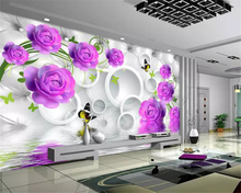 beibehang Custom size personality silky papel de parede 3d wallpaper purple rose elegant fashion water reflection 3D background