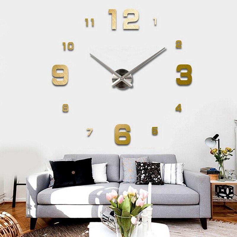 Nueva moda moderno diy gran superficie del espejo del reloj de pared 3d pegatina