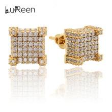 LuReen Micro Pave Zircon Square Stud Earring Men  Gold Silver Earrings For Women Screwback Jewelry