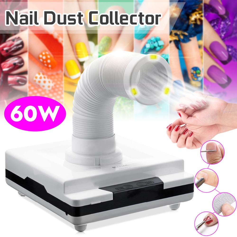 60W Retractable Nail Dust Collector Suction Dust With Strong Fan No spilling Filter Nail Vacuum Cleaner Manicure Machine Salon