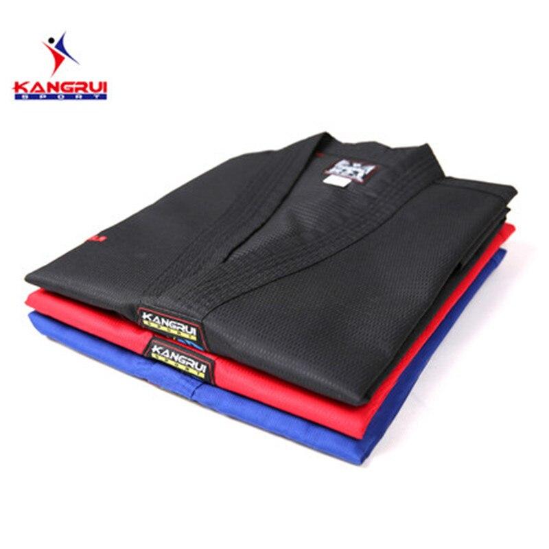 Uniforme de Taekwondo Poomsae coloré rouge bleu noir entraîneur dobok adulte Tae kwon do dobok WTF noir col en v TKD entraînement uniforme