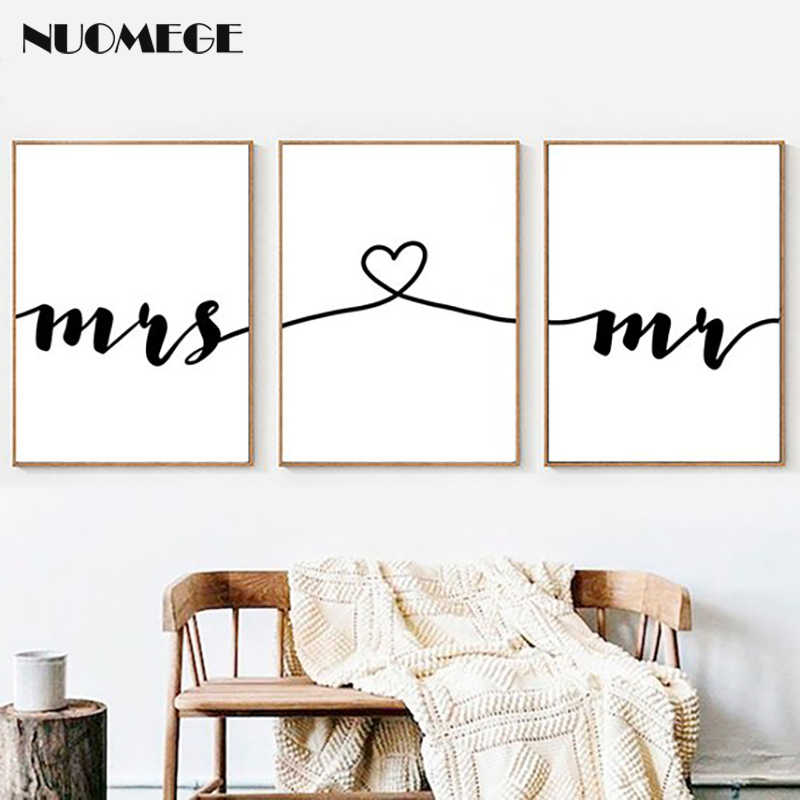 NUOMEGE Nordic Mr Mrs Love Prints on Canvas Poster Black and White Wall Art Canvas Painting Wall Picture Modern Home Decoration