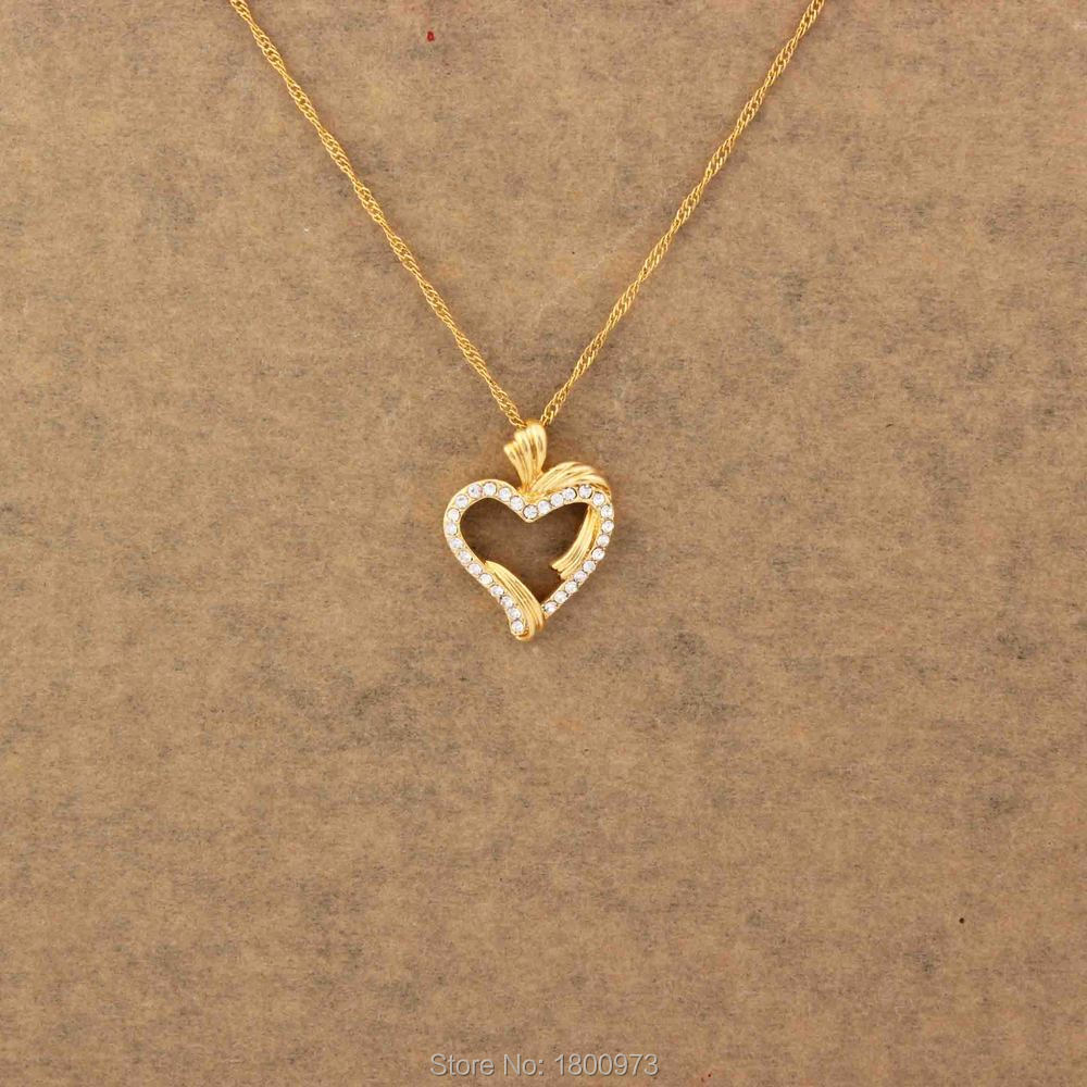 Love Symbol Heart Necklaces Women Girls Lovers Wedding Gifts Gold