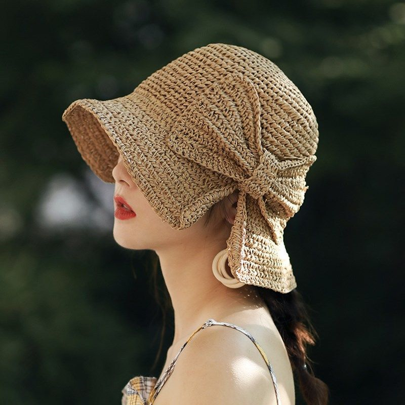 Parent-child 100%Raffia Bow Sun Hat Wide Brim Floppy Summer Hats For Women Beach Panama Straw Dome Bucket Hat Femme Shade Hat (China)