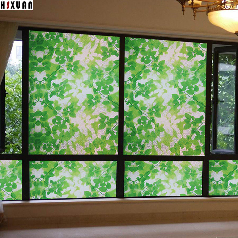 Leaf Print Frosted Privacy Sunscreen Window Glass Film