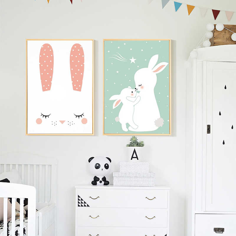 Nordic Cute Baby Rabbit Canvas Painting Posters and Prints Nursery Decoration Pictures for Kids Room Wall Art Decor
