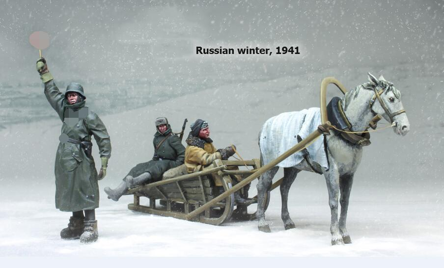 1/35 Russian Winter  1939 INCLUDE  (3 Soldiers , Horse, Sledge)    Man Resin Model Miniature Gk Unassembly Unpainted