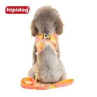 Hipidog мультфильм печатных топ с кружевом жгут поводок набор сетки Стеганый жилет одежда костюм на груди приводит набор для маленьких собак к...