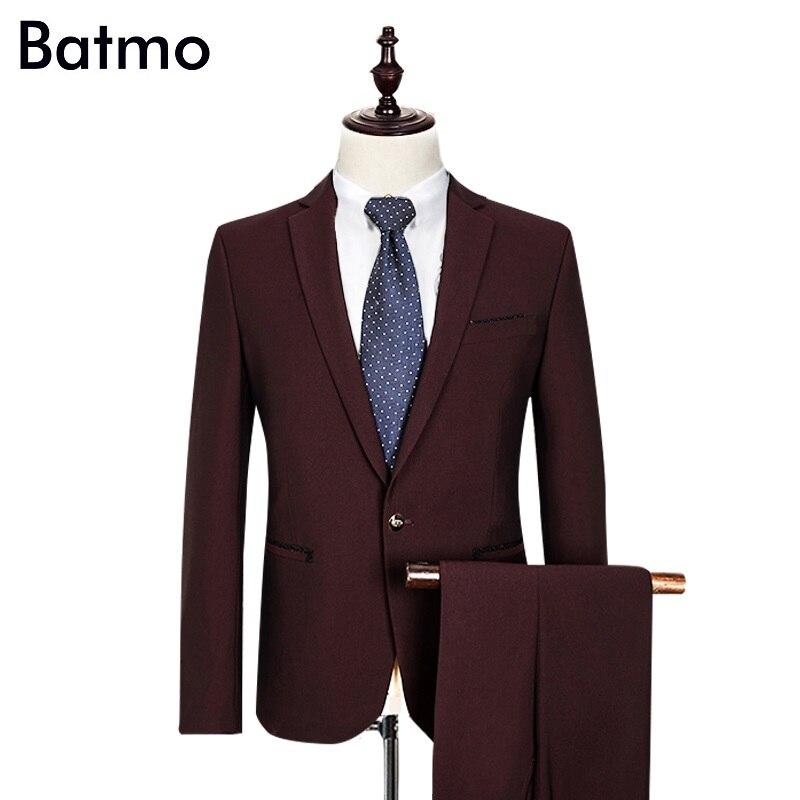 2017 nouveauté marque célèbre haute qualité Polyester et viscose affaires décontracté hommes vin rouge costumes, grande taille M à 3XL