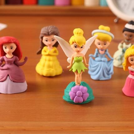 6 Pieces Set Creative Gifts Princess Erasers For Kids School Supplies Kawaii Cartoon Cute Eraser For Girls