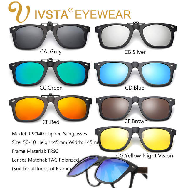 ec473dcc3fa Online Shop IVSTA 2018 Clip On Sunglasses Men Flip Up Clips Lenses Driving  Sun Glasses Polarized Women myopia Night Vision Flip Up