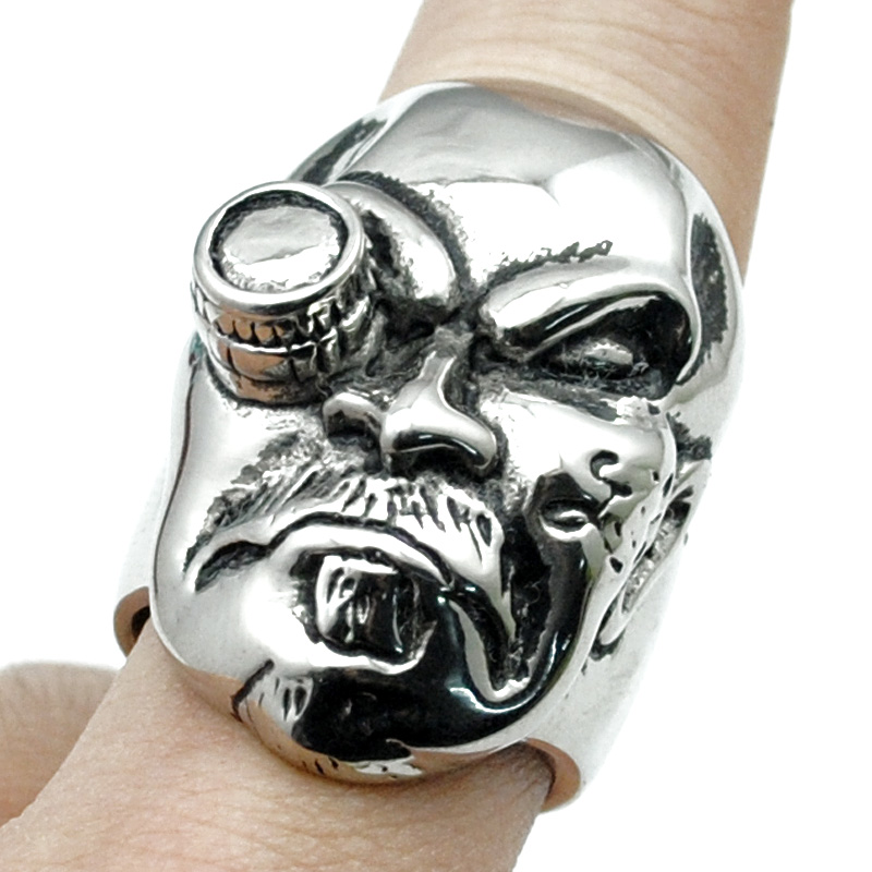 atgo cool tough guy punk biker ring for men high polished stainless steel jewelry new trendy - Guys Wedding Rings