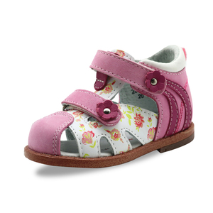 Image 2 - Apakowa Baby Girls Classic Genuine Leather Closed Toe Orthopedic Sandals Toddler Kids Summer Hook and Loop Shoes for Infant Girl