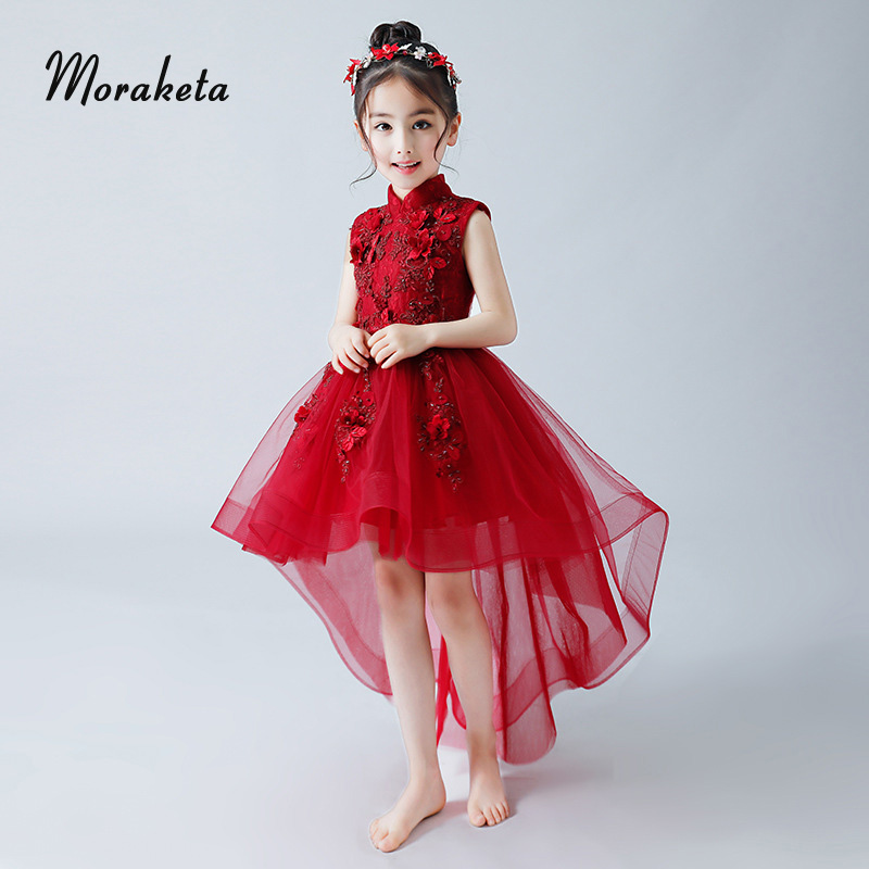 High Neck High Low Kids Graduation Party   Dresses   2019 Sleeveless   Flower   Appliques Wine Red Puffy   Flower     Girl     Dresses