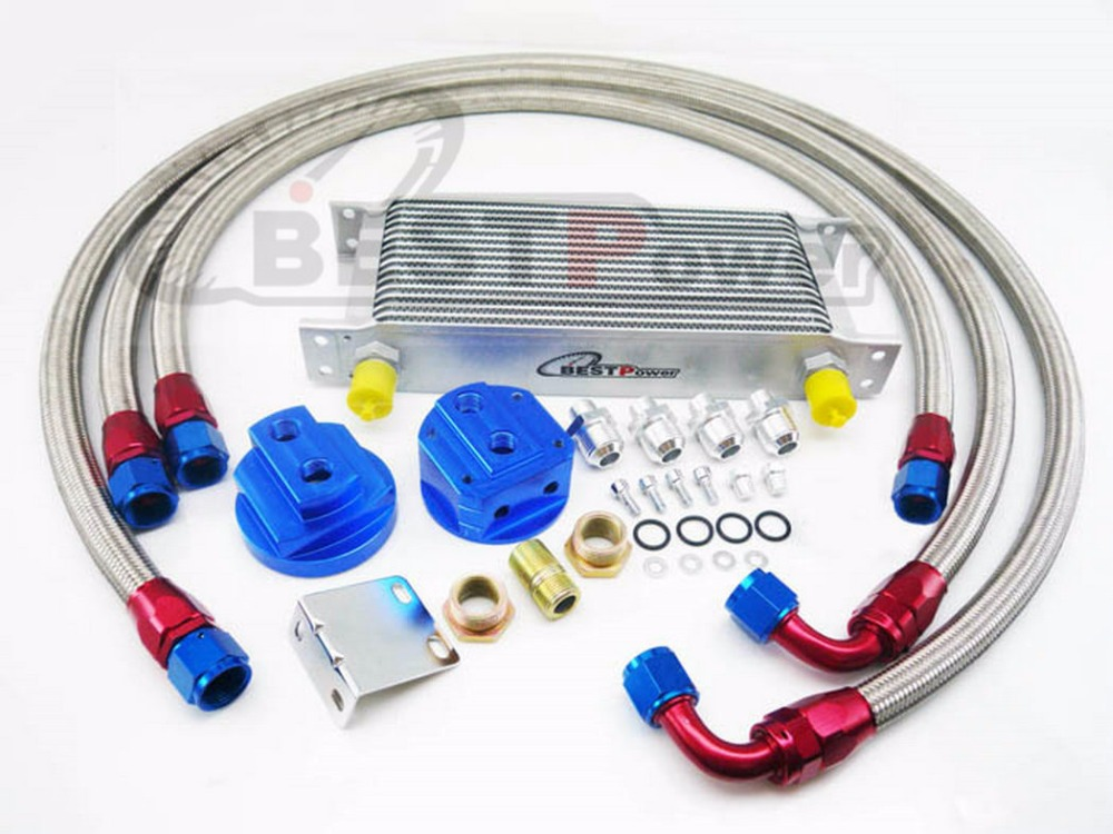 16 ROW AN-10AN UNIVERSAL ENGINE TRANSMIS OIL COOLER + FILTER RELOCATION KIT