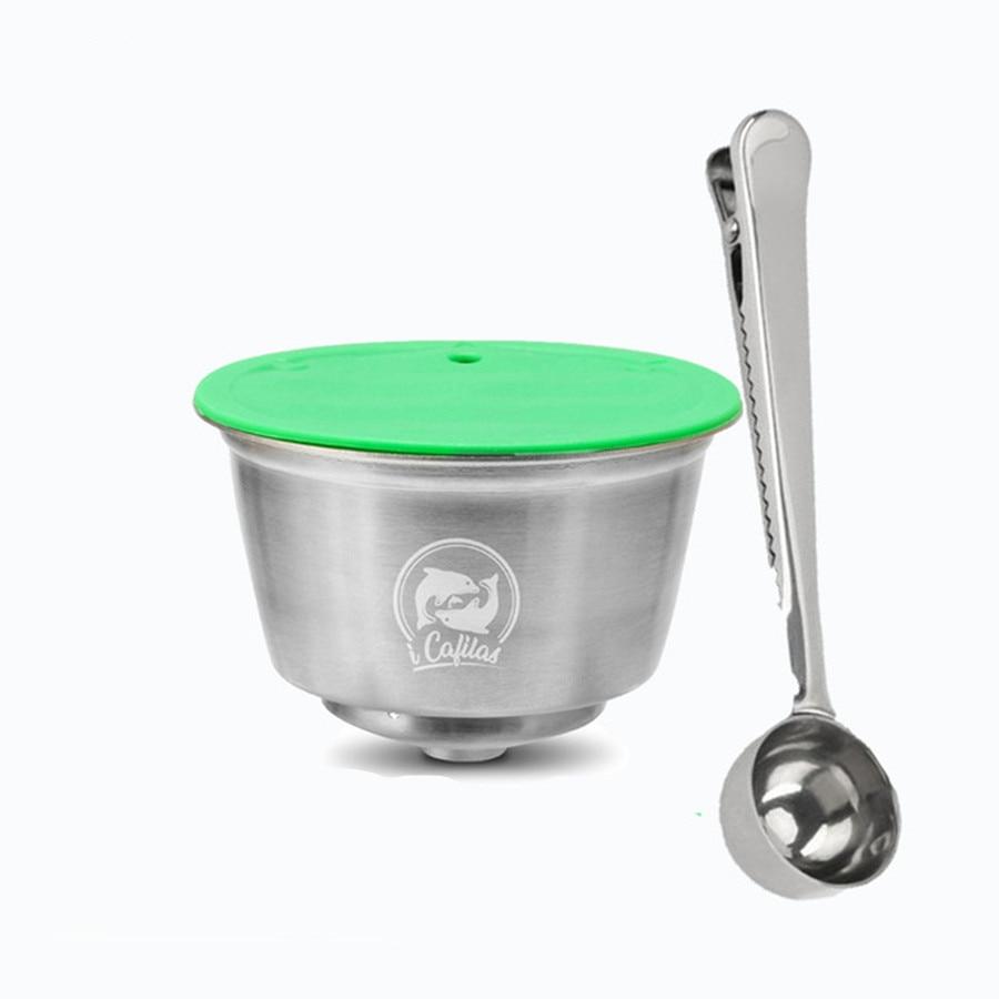 다시 채울 수있는 스테인레스 스틸 금속 재사용 dolce gusto 캡슐 실리콘 커버 dolci gusto 커피 기계 커피 스푼 클립