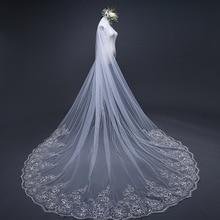 4 מטר * 3m שנהב/לבן כלה רעלות תחרה שכבה אחת applique Edge טול קתדרלת חתונת רעלה ארוך חתונת Accessorie