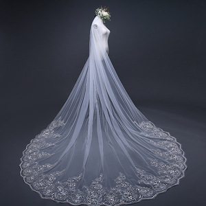 Image 1 - 4 Meter *3m Ivory/White Bridal Veils Lace one layer applique Edge Tulle  Cathedral Wedding Veil Long Wedding Accessorie