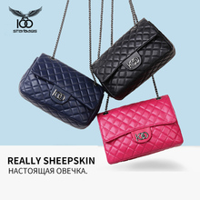 Genuine leather sheepskin women Single shoulder satchel bag for womens soft Female The chains inclined