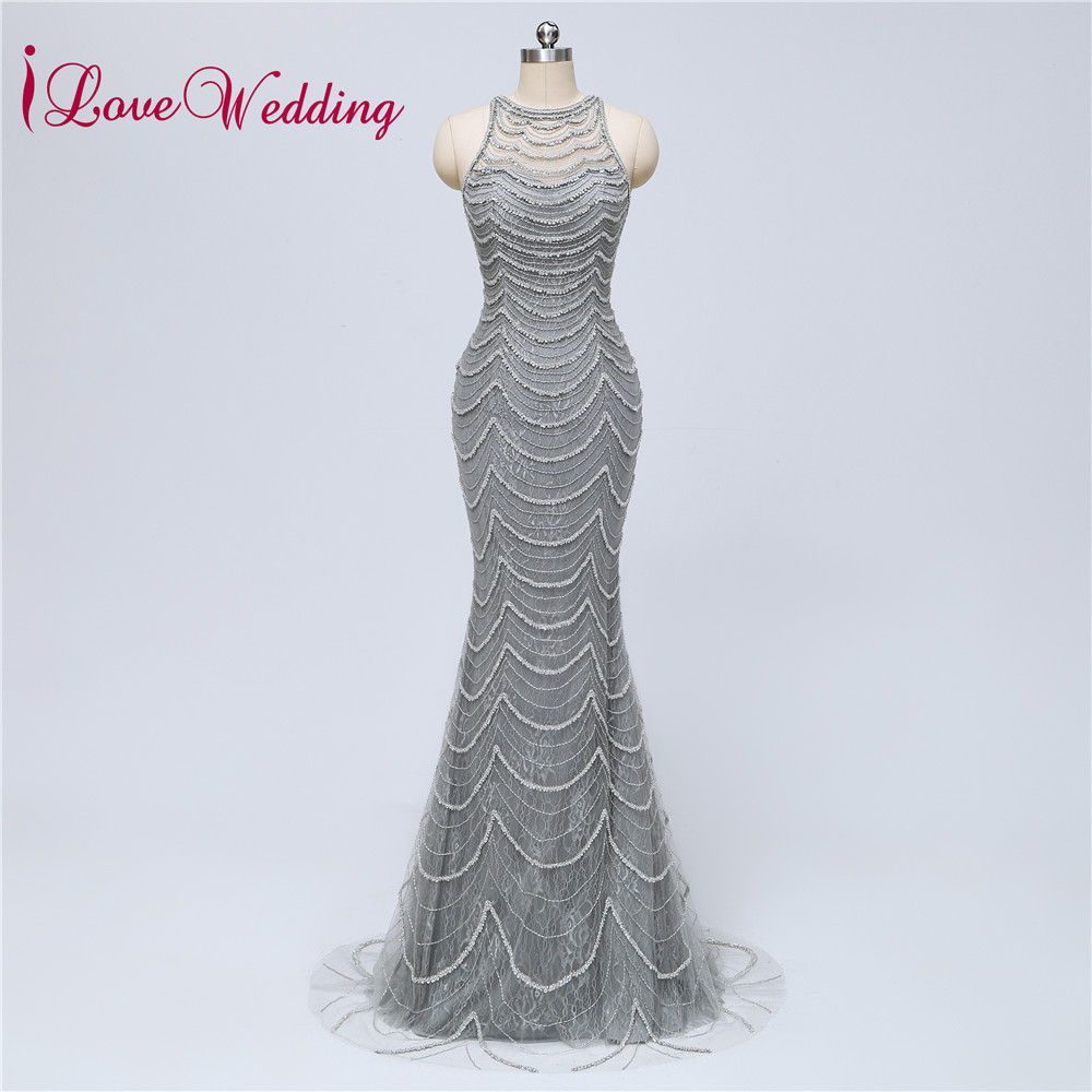 New Fashion Silver Evening Dress 2018 O Neck Heavy Major Beaded ...