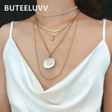цена на BUTEELUVV Natural Shell Pearl Pendant Necklace for Women Vintage Pearl Chain Choker Multilayered Chain Necklace Fashion Jewelry