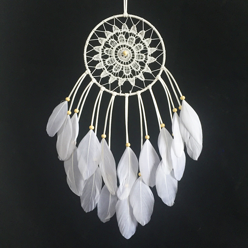 2015 New fashion jewelry big Hot white Dreamcatcher Wind Chimes Indian Style Feather Pendant Dream Catcher Gift