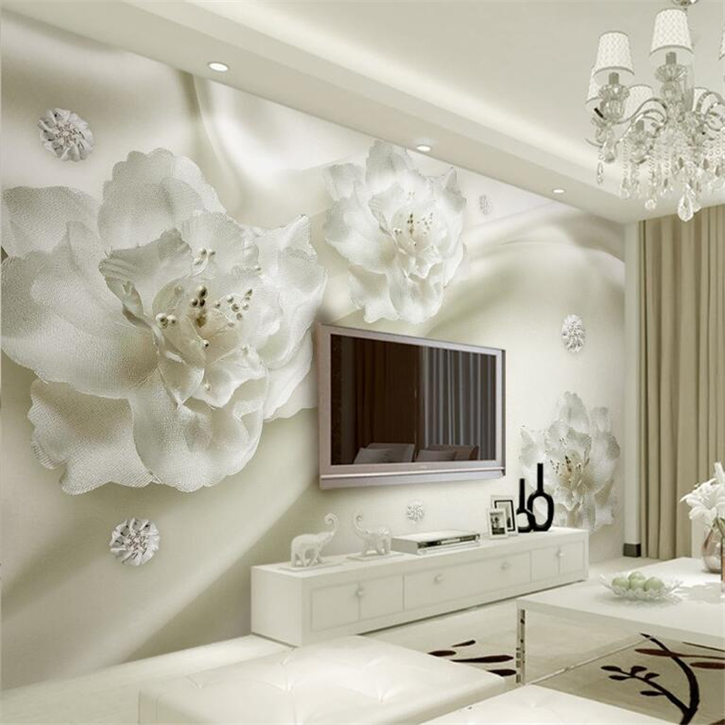 Beibehang Beautiful light gray silk flowers European style 3d TV backdrop living room bedroom murals wallpaper for walls 3 d wallpaper for walls 3 d modern trdimensional geometry 4d tv background wall paper roll silver gray wallpapers for living room