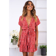 2019 new print dress elegant sexy deep V-neck retro womens three-color